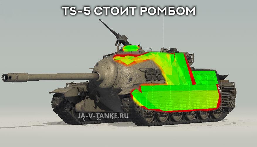 Если стоит ромбом TS-5 куда пробивать?